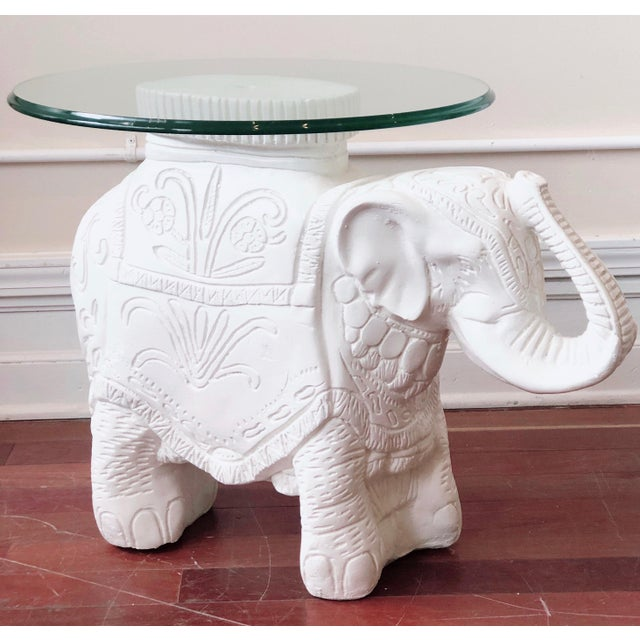White Glass Top Elephant Figure Side Table For Sale - Image 8 of 8