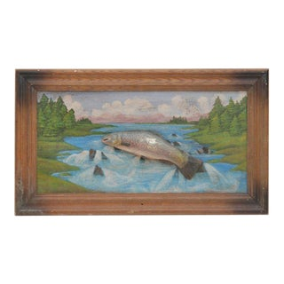 Folk Art Painted Diorama of Fish For Sale