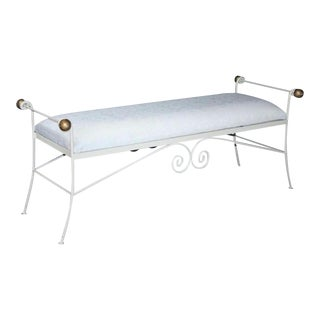 "Vintage 54"" French Style White Gold Wrought Iron Window Bench Metal Hollywood Regency For Sale"