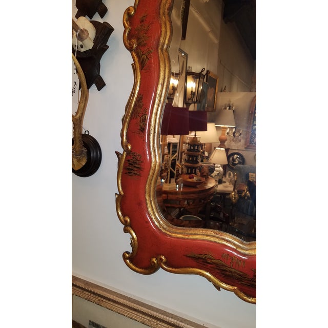 Red Theodore Alexander Chinoiserie Red Lacquer and Gold Painted Mirror For Sale - Image 8 of 11