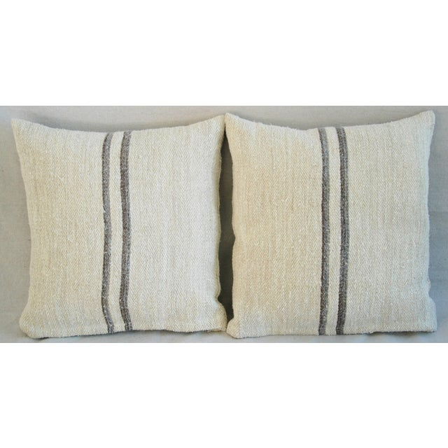 French Grain Sack Pillows - A Pair - Image 5 of 11