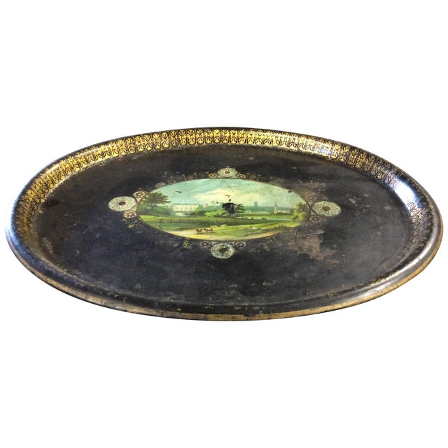 Shabby Chic Black Antique Tole Tray - Image 1 of 4