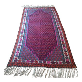 "Large Vibrant Anatolian Turkish Kilim Rug 9'2""x4'5"" For Sale"