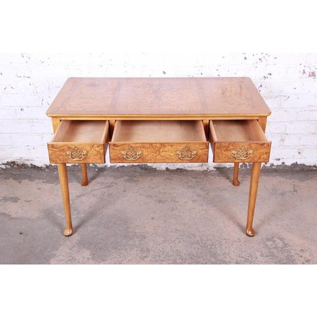 Metal Baker Furniture Queen Anne Burl Wood Writing Desk For Sale - Image 7 of 13