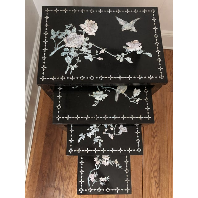 Mid Century Asian Black Lacquer Nesting Tables - Set of 4 For Sale - Image 9 of 13