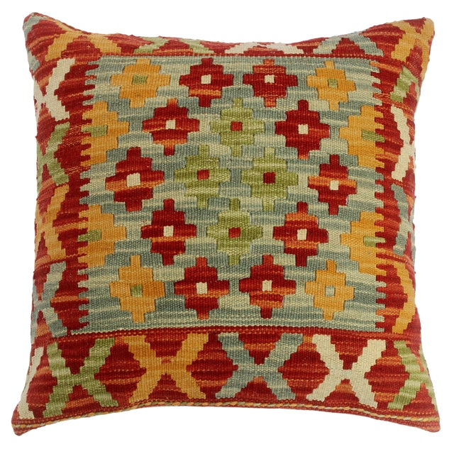 "Chase Red/Gray Hand-Woven Kilim Throw Pillow(18""x18"") For Sale"