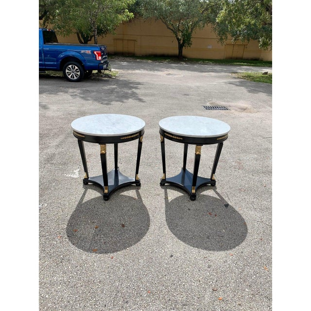1910s Antique French Empire Marble Top Accent Tables or Gueridon Tables - a Pair For Sale - Image 9 of 13