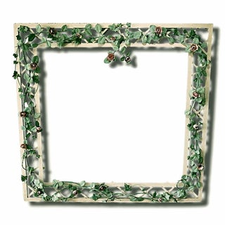 Monumental Mid Century Tole Trellis Wall Mirror Frame Climbing Roses For Sale