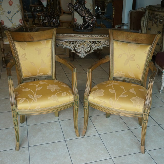 Hand-Carved European Accent Chairs - a Pair - Image 2 of 9