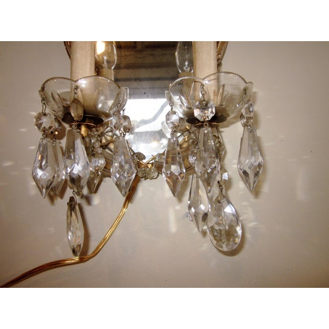 1920s French Louis XV Style Gilt Mirror and Glass Framed Sconces - a Pair For Sale - Image 9 of 13