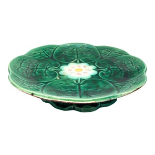 Antique English Majolica Pond Lily Waterlily Pedestal Cake Plate Compote Stand, C1880 For Sale