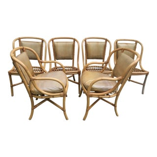 Willow and Reed Bamboo Rattan Dining Chairs - Set of 6 For Sale