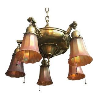 Art Glass and Brass Light Fixture For Sale