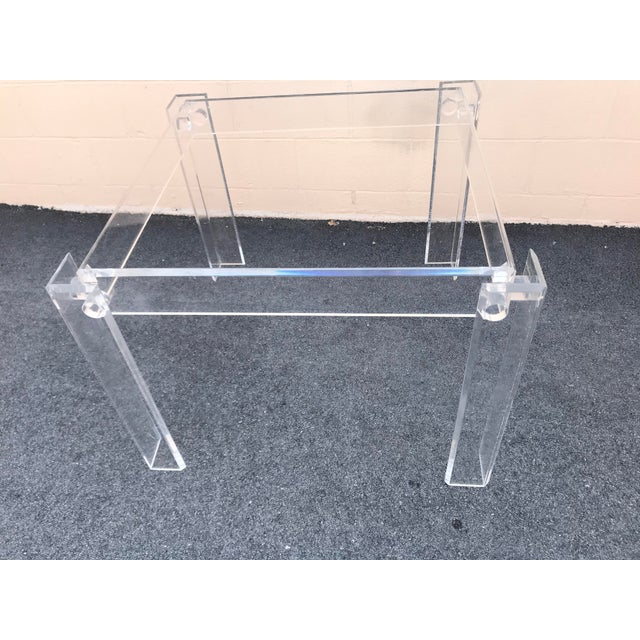 1970s 1970s Modern Clear Lucite Table For Sale - Image 5 of 7