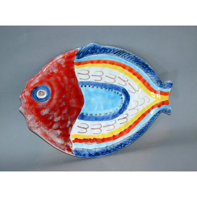 Italian Giovanni Desimone Hand Painted Pottery, Fish Platter, Serving Plate For Sale - Image 12 of 12