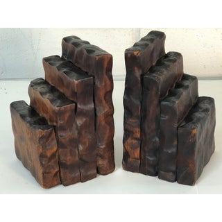 Rustic Style Wood Bookends, Pair Preview