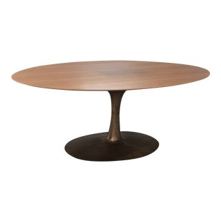 Contemporary Walnut Bronze Base Dining Table For Sale