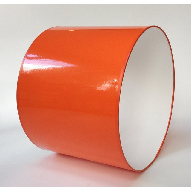 Contemporary Medium High Gloss Orange Drum Lamp Shade For Sale - Image 3 of 6