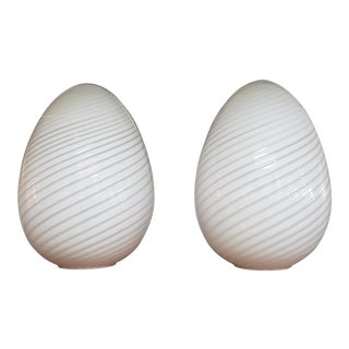 Vetri Murano Egg Shaped Lamps - a Pair For Sale