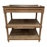 Image of Modern Cerused Oak Finished Wood and Bluestone Sink Vanity For Sale