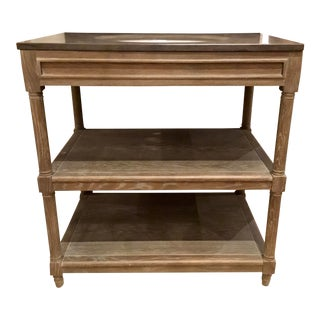 Modern Cerused Oak Finished Wood and Bluestone Sink Vanity For Sale
