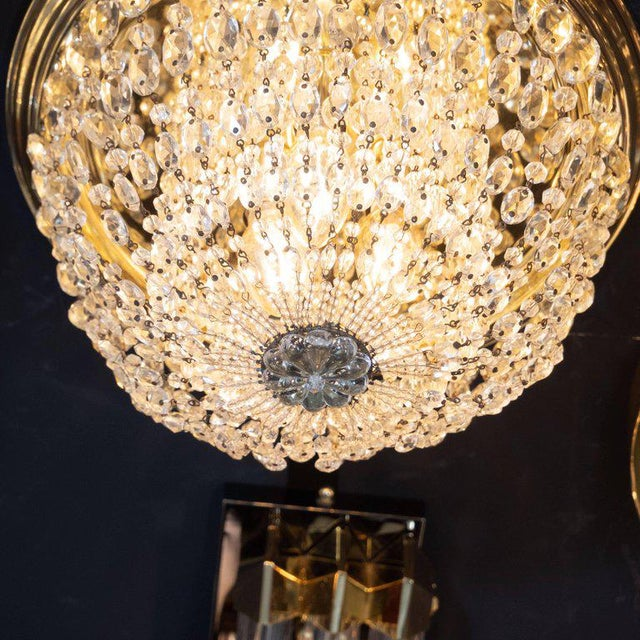 1940s Hollywood Domed Two-Tier Cut Crystal Flush Mount With Circular Brass Base For Sale - Image 4 of 8