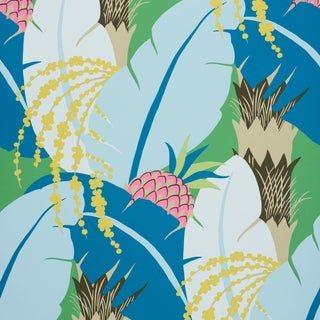 Schumacher X Paul Poiret Ananas Wallpaper in Peacock For Sale