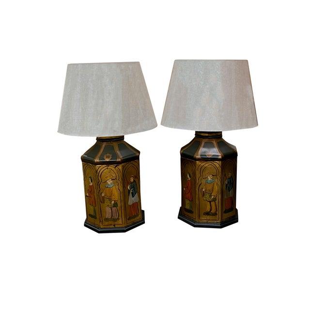 Black Antique Tole Lamps - a Pair For Sale - Image 8 of 8