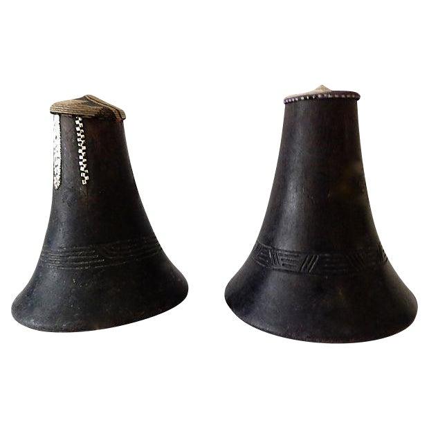 Hima Milk Jugs w/ Woven Lids, S/2 For Sale