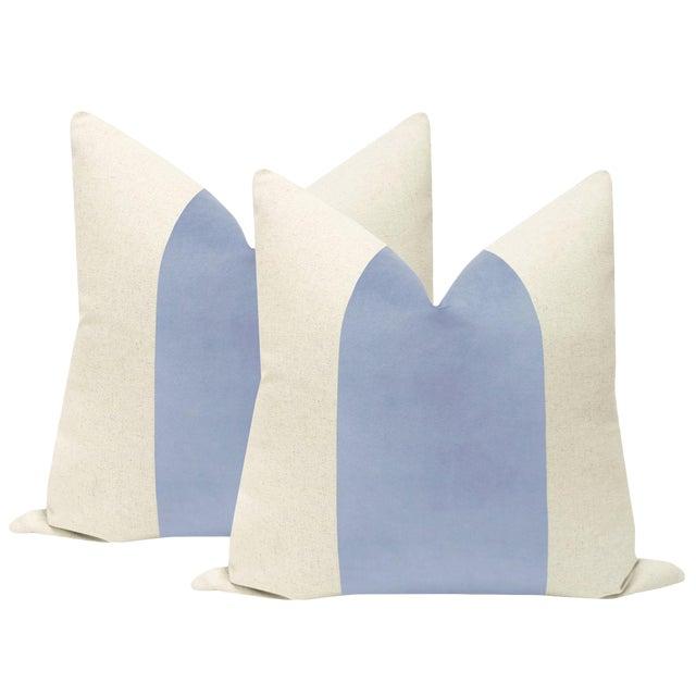 "22"" Powder Blue Velvet Panel & Linen Pillows - a Pair For Sale"