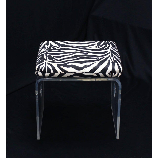 Black Pair of Bent Lucite Benches with Zebra Upholstery Cushions For Sale - Image 8 of 8