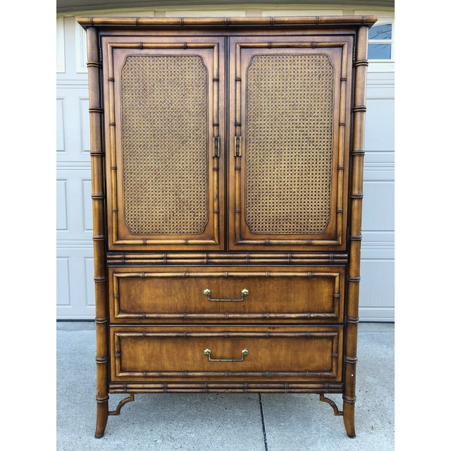 Vintage Dixie Faux Bamboo Tahiti Armoire For Sale - Image 9 of 9