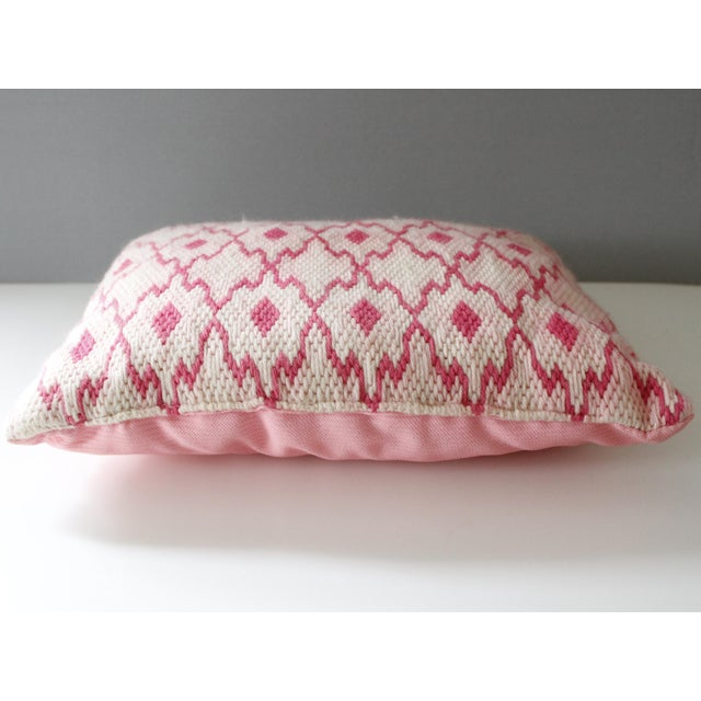 Lovely handmade vintage needlepoint pillow. Unique diamond pattern in vibrant shades of pink. Excellent vintage condition...
