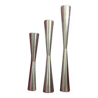 Danish Modern Stainless Steel Candlesticks - Set of 3 For Sale