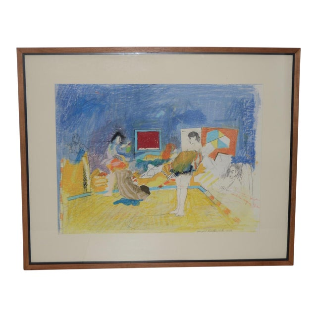"""Donald Borthwick (American, 20th C.) """"Nude in Room With Red Window"""" Mixed Media Original C.1964 For Sale"""