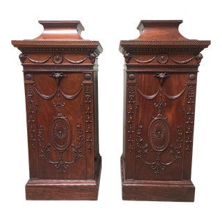 19th Century English George III Style Mahogany Pedestal Cabinets - a Pair For Sale