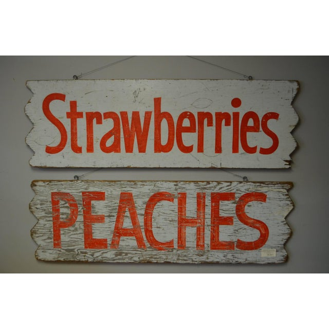 1950s Hand-Lettered Farm Produce Signs - Pair - Image 2 of 7