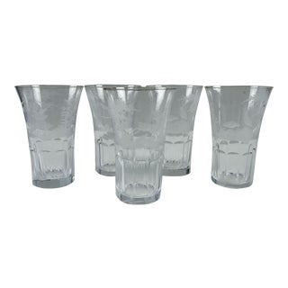 Wildlife Scenes Etched Glass Tumblers - Set of 5 For Sale
