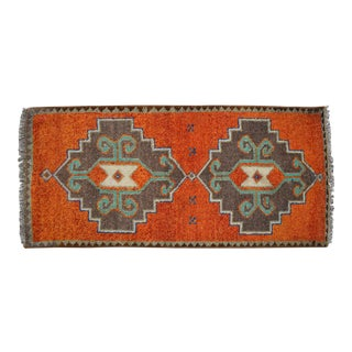 Distressed Low Pile Oushak Yastik Rug Faded Colors Vintage Petite Rug - 19'' X 41'' For Sale