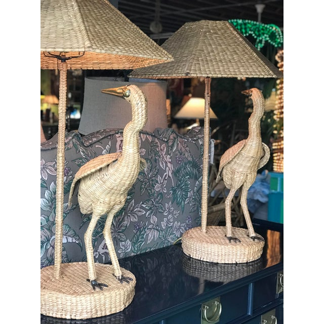 Brass Mario Lopez Torres Heron Lamps-Pair For Sale - Image 7 of 12