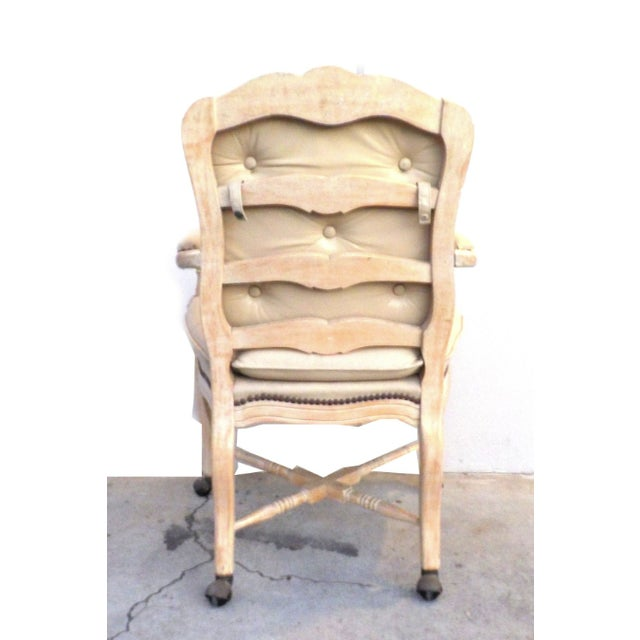 Victorian White Washed Wood Leather Office Chair For Sale In Los Angeles - Image 6 of 7