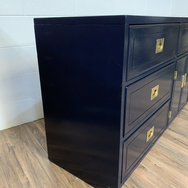 Blue 1960s Vintage Campaign Style Refinished Dresser WIth Two Mirrors For Sale - Image 8 of 10