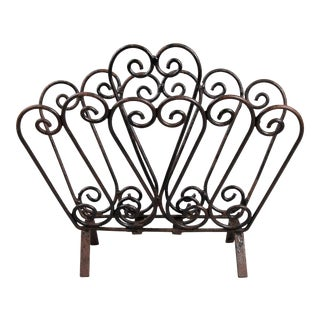 Vintage French Wrought Iron Magazine Rack For Sale
