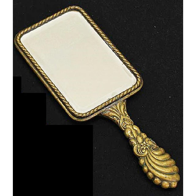 French Brass Vanity Hand Mirror - Image 4 of 4