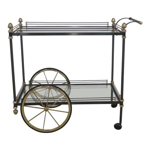 Regency Style Brass & Steel Tea Cart Server For Sale
