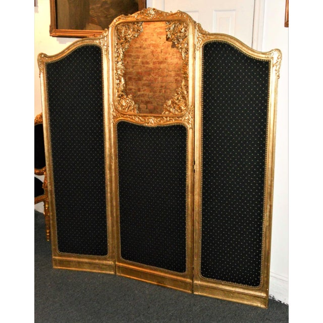 Late 19th Century Late 19th Century French Louis XVI Style Three-Fold Gilt-Wood Floor Screen For Sale - Image 5 of 8