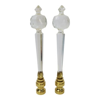Vintage Clear Faceted Lead Crystal Austrian Glass Finials by C. Damien Fox, a Pair. For Sale