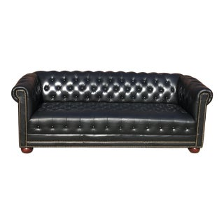 Vintage Black Leather Nail Head Trim Chesterfield Sofa For Sale