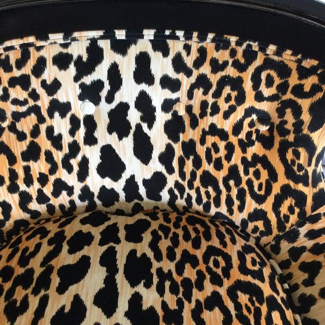 Velvet Leopard Print Slipper Chairs - a Pair - Image 7 of 11