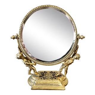 Vintage Gilt Cherub Vanity Mirror For Sale